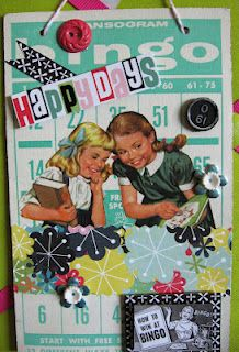 """Happy Days"" Altered Vintage Bingo Card"