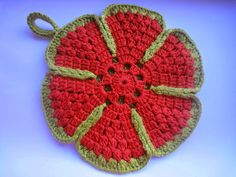Вязание крючком: Прихватка ЦВЕТОК Часть-1 Holder under a hot Crochet Part-1