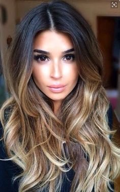 Beautiful styled balayage. Quiet dark up the top and blends in to a light brown and then almost blonde tips. In love ❤️