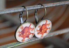 Octopus Drop Earrings. $12.00, via Etsy.