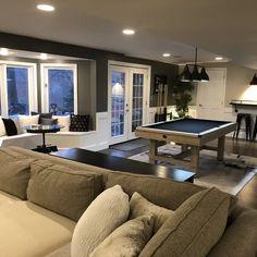 Best Flooring For Basement, Cozy Basement, Basement Living Rooms, Basement Floor Plans, Modern Basement, Exposed Basement Ceiling, Basement Wall Colors, Basement Movie Room, Cool Basement Ideas