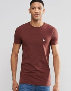 ASOS Longline Muscle T-Shirt With Logo In Chestnut £10.00 @ Asos