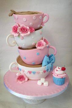 When you love tea cups en cupcakes (high tea) Pretty Cakes, Cute Cakes, Beautiful Cakes, Yummy Cakes, Amazing Cakes, Unique Cakes, Creative Cakes, Creative Ideas, Fondant Cakes
