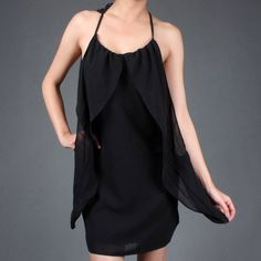 Flowy Drape Flutter Chiffon Open Back Halter Dress only $19.99!