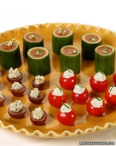 Nestle a blue cheese and walnut filling in grape cups, herbed goat cheese in cherry tomato cups, or gazpacho in cucumber cups for easy appetizer eating without messy fingers.