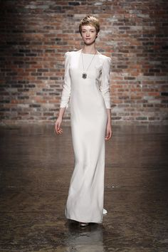 We can picture Angelina Jolie wearing this Hayley Paige  long-sleeved wedding dress. (Photo: Dan Lecca)