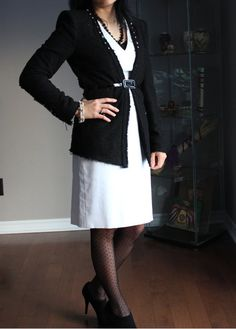 Black jacket w/ ivory sheath dress