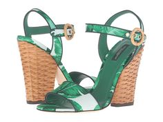 Dolce & Gabbana Vibrant Banana Leaf Print Satin Sandal with Midollino Wrapped Wedge Heel.  Made in Italy.