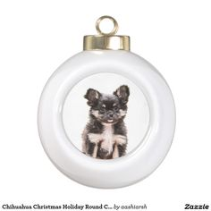 #Chihuahua #Christmas Holiday Round Ceramic #Ornament new product in #store