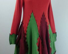 Upcycled jumper dress / Recycled sweater dress / Wool & cashmere dress / Quirky lagenlook dress / Art to wear
