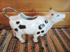 VINTAGE RARE Cow Creamer Pitcher Black with White Spots - GOLD TRIM