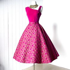 vintage 1950s dress ...gorgeous ALEX COLMAN pink and gold screened 2pc velvet asymmetrical top & full circle skirt cocktail party dress l
