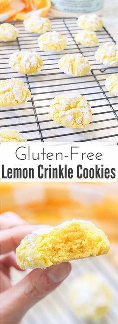 Gluten free lemon crinkle cookies combine light fresh lemon flavors into soft and doughy cookies that are sprinkled in delicious powdered sugar before being baked for a quick 10 minutes! Uses @bobsredmill BobsSpringBaking flour. AD