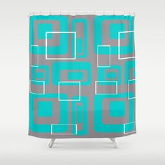 Items similar to Mid Century Modern Retro Shower Curtain on Etsy Modern Shower Curtains, Grey Curtains, Pad Design, Midcentury Modern, House Warming, 1950s, Mid Century, Teal, Retro