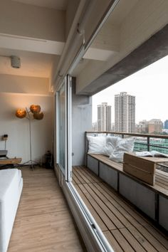 Apartment balcony's are usually small but installing sliding windows would open up the area turning the living into a temporary balcony. Apartment Balcony Decorating, Apartment Balconies, Cozy Apartment, Apartment Furniture, Apartment Ideas, Apartment Design, Dispositions Chambre, Bedroom Layouts, Small Living Rooms