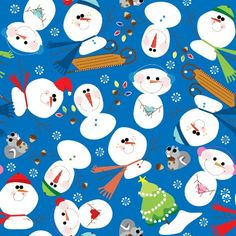 Such cute snowmen to wrap your holiday treasures in! Artist: Janel Kaden  Jillson & Roberts Recycled Christmas Gift Wrap, Snow Pals