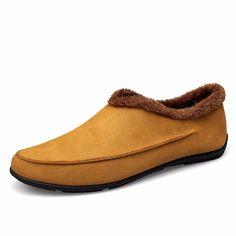 JUNJARM Winter Cow Suede Men Casual Shoes Design Slip on Comfort Men Loafers Driving Shoes Warm Flats Shoes Men Big Size 37-48. Click visit to buy
