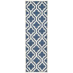 Safavieh Handmade Moroccan Cambridge Navy/ Ivory Wool Rug (2'6 x 14') - Overstock™ Shopping - Great Deals on Safavieh Runner Rugs