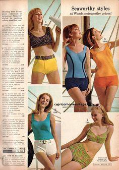 All sizes | montgomery ward 1967 summer sale | Flickr - Photo Sharing! Vintage Bathing Suits, Vintage Swimsuits, Bikini Vintage, 1960s Fashion, Vintage Fashion, Retro Lingerie, Lingerie Styles, Retro Swimwear, Fashion Marketing