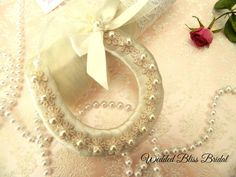 Wedding Bridal Horseshoe charm  Ivory satin by WeddedBlissBridal, $25.00