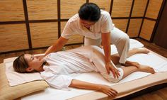 Thai Massage A deep massage involving through stretching of limbs and joints. It is usually performed on floor. It releases your body from physical and mental stress.