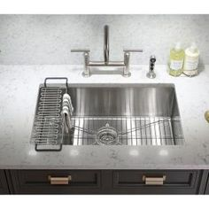 Kohler prolific undermount stainless steel 33 in single bowl kohler strive undermount stainless steel 29 in single bowl kitchen sink kit with bowl rack workwithnaturefo