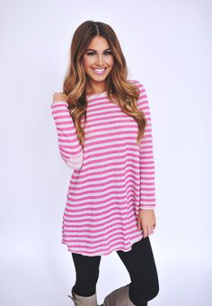 Dottie Couture Boutique - Terry Tunic- Pink/Ivory, $32.00 (http://www.dottiecouture.com/terry-tunic-pink-ivory/)