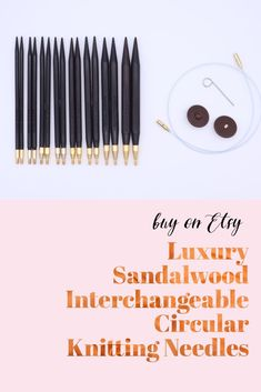 These beautiful interchangeable circular knitting needles are made from gorgeous dark sandalwood and are exceptionally light and lovely to knit with. The cables - available in 40, 60, 80 and 100 centimetres - are very flexible which makes them perfect for the magic loop technique. Available in multiple sizes. Wooden Knitting Needles, Magic Loop, Knitting Projects, I Shop, Dark, Luxury, Unique Jewelry, Handmade Gifts, Beautiful