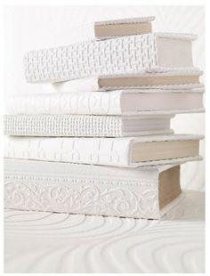 White Embossed Paper & Linen covered Books ....