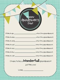 Grandparents Day Printable ~ via Simply Sprout - cute idea to personalize the activities your kids do with their grandparents Happy Grandparents Day, Dad Birthday, Girlfriend Birthday, Birthday Quotes, Birthday Gifts, Family Presents, Fall Preschool, Beginning Of The School Year, Grandparent Gifts