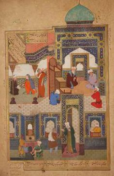 A dervish begs to be admitted in the mosque Bihzad Wholesale Oil Painting China Picture Frame 34197 Aladdin, Egyptian Drawings, Medieval Paintings, Ancient Near East, Islamic Paintings, Renaissance, Indian Art, Indian Prints, Sacred Art