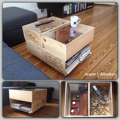 Very Cool coffee table made out of wine crates All things wine