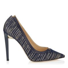 jimmy choo Navy and Gold Woven Metallic Fabric and Navy Kid Leather Pointy Toe Pumps