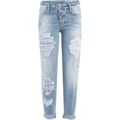 Dsquared2 Distressed Boyfriend Jeans found on Polyvore featuring jeans, pants, bottoms, trousers, calças, blue, ripped boyfriend jeans, destroyed boyfriend jeans, ripped blue jeans and destruction jeans