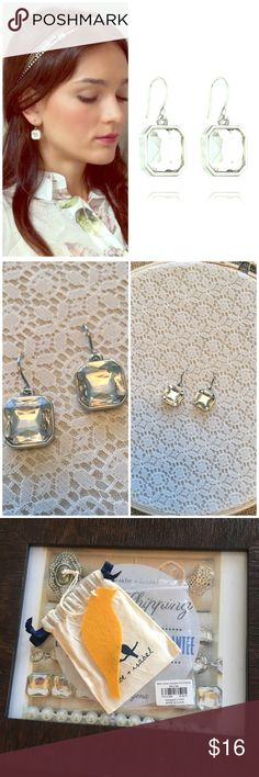 """Retro Glam Square-Cut Crystal Earrings Brand New! These stunning Chloe + Isabel classic + sparkly addition to a signature Estate Vintage collection with clear crystal stunners are remarkably versatile + pair perfectly with both your work + weekend wardrobes! Comes with original packaging as seen in photo #3!         xo, -Anna Lisa 💕⚜️ -shiny rhodium-plated -nickel-free plating -1"""" approx. drop length -french wire -clear glass Chloe + Isabel Jewelry Earrings"""