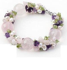 Assorted Amethyst, Rose Quartz and Peridot Bracelet - AtPerrys Healing Crystals - 1