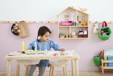 Meet FLISAT from IKEA, a collection of wooden furniture and toys designed to grow with kids from ages 3 to Play Spaces, Kid Spaces, Ikea Dollhouse, Table Ikea, Playroom Table, Lego Table, Ikea New, Wall Shelf Decor, Toy Rooms