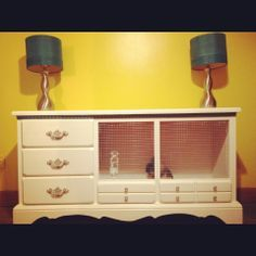 My best friend DIY'd this rabbit cage out of old dresser says a previous pinner.