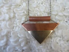 Szahara - Necklace , alpacca, copper, geometric by ScillaCreations on Etsy