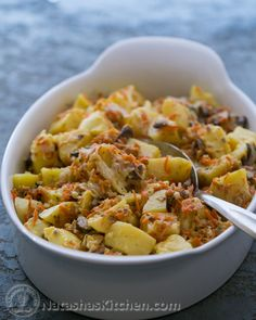 Potatoes with Cream and Mushrooms (this is the secret recipe served at Russian weddings)