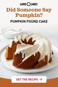 Holiday Desserts, Holiday Baking, Just Desserts, Holiday Recipes, Delicious Desserts, Dessert Recipes, Pound Cake Recipes, Pound Cakes, Pumpkin Pound Cake