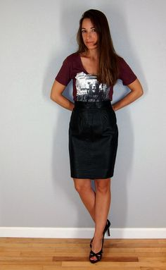 Vintage Black Leather Pencil Skirt, Size Small/Medium, Size 4, real leather