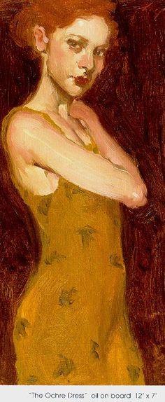 "Malcolm T. Liepke: The Ochre Dress; oils on canvas, 12""x 7""."