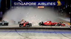 Der Unfall kurz nach dem Start: Sebastian Vettel, Max Verstappen und Kimi Raikkonen kollidieren