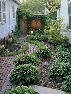 river rock mulch with hostas