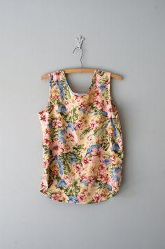 silk floral tank | http://www.etsy.com/listing/96100928/floral-silk-top-floral-print-silk-tank    #vintage #etsy