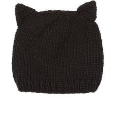 Black Cat Ear Beanie ❤ liked on Polyvore featuring accessories, hats, beanies, black, clothing accessories, cat ear beanie, beanie cap hat, cat hat, cat ear beanie hat and beanie hats