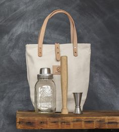 Mason Jar Cocktail Shaker Bar Set with Tote Bag