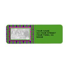 Add a Photo Personalized Address Labels Bright Olive Green #zazzle #labels #personalized