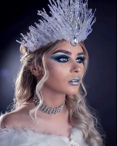 Ice snow queen crown costume makeup look inspiration by @jadelaurenharrison and @christophernewtonphotography